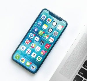 Mobile phone with icons and interface